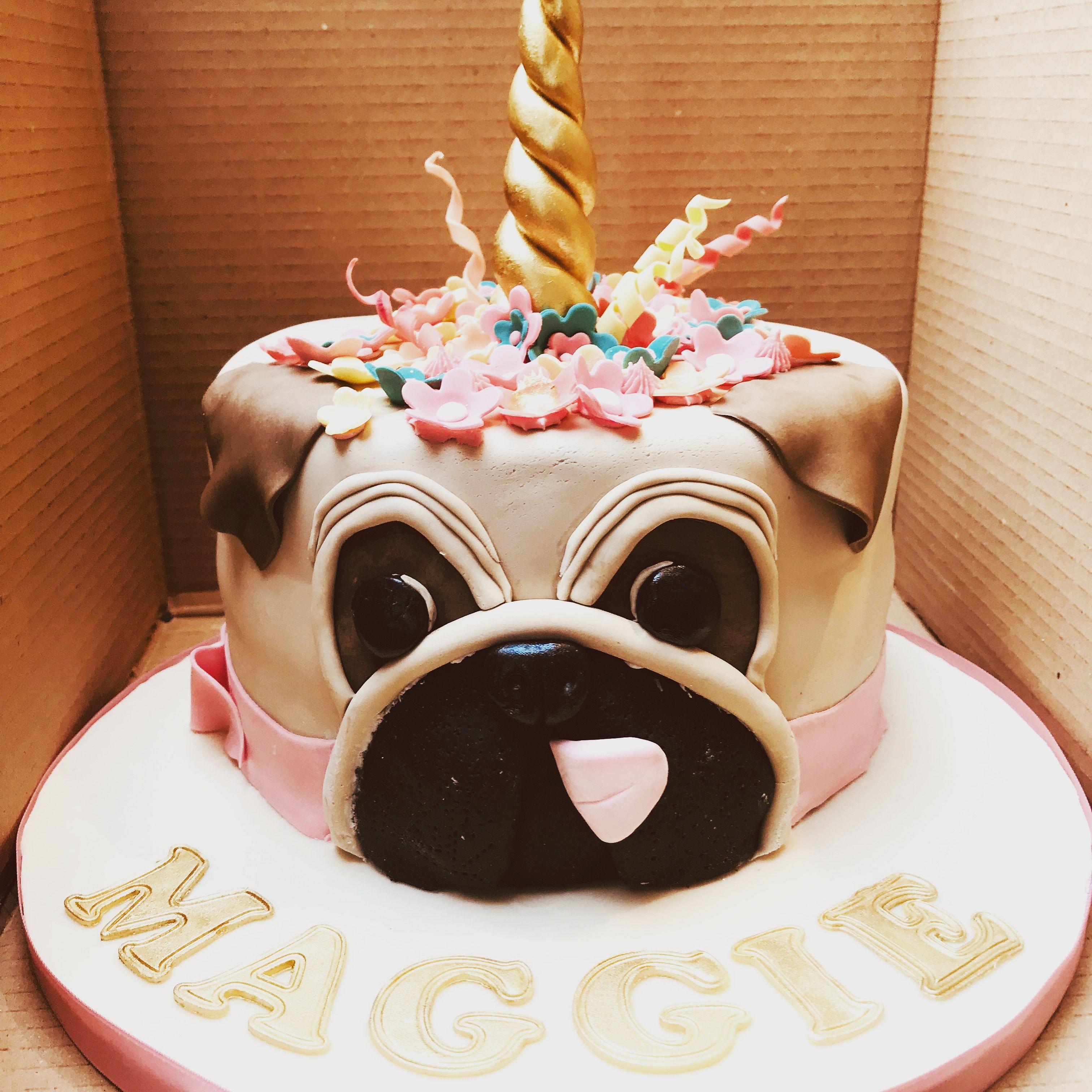 Pug Unicorn Inspired Cake Pug Birthday Cake Unicorn Birthday