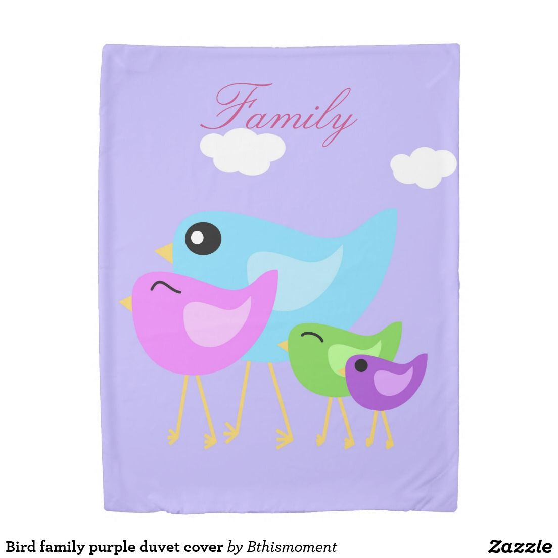 Family is what it's all about with these birds on their lovely pastel purple duvet cover. Fresh spring bedding for easter room decor.