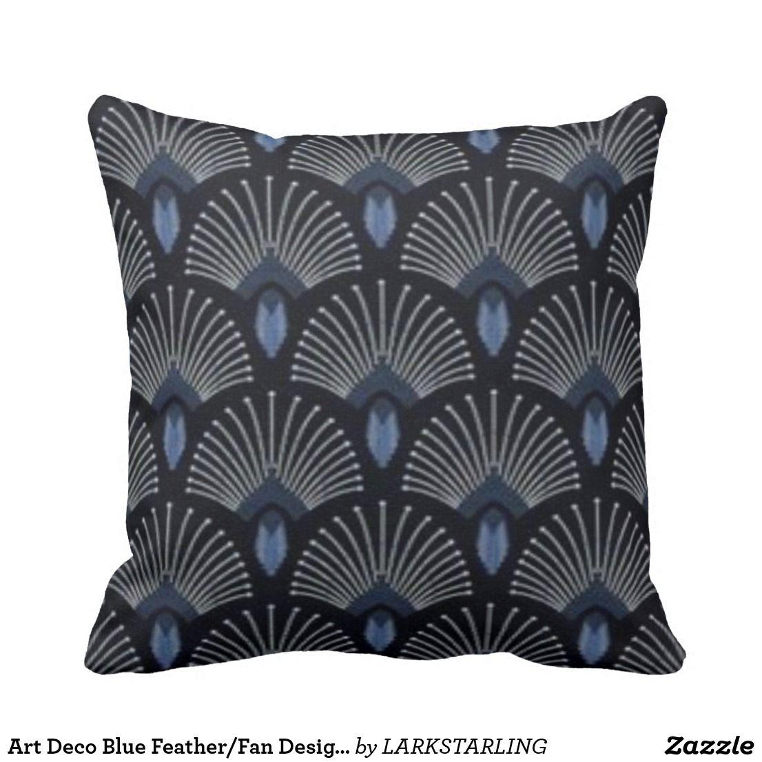 Art Deco Blue FeatherFan Design Throw Pillow