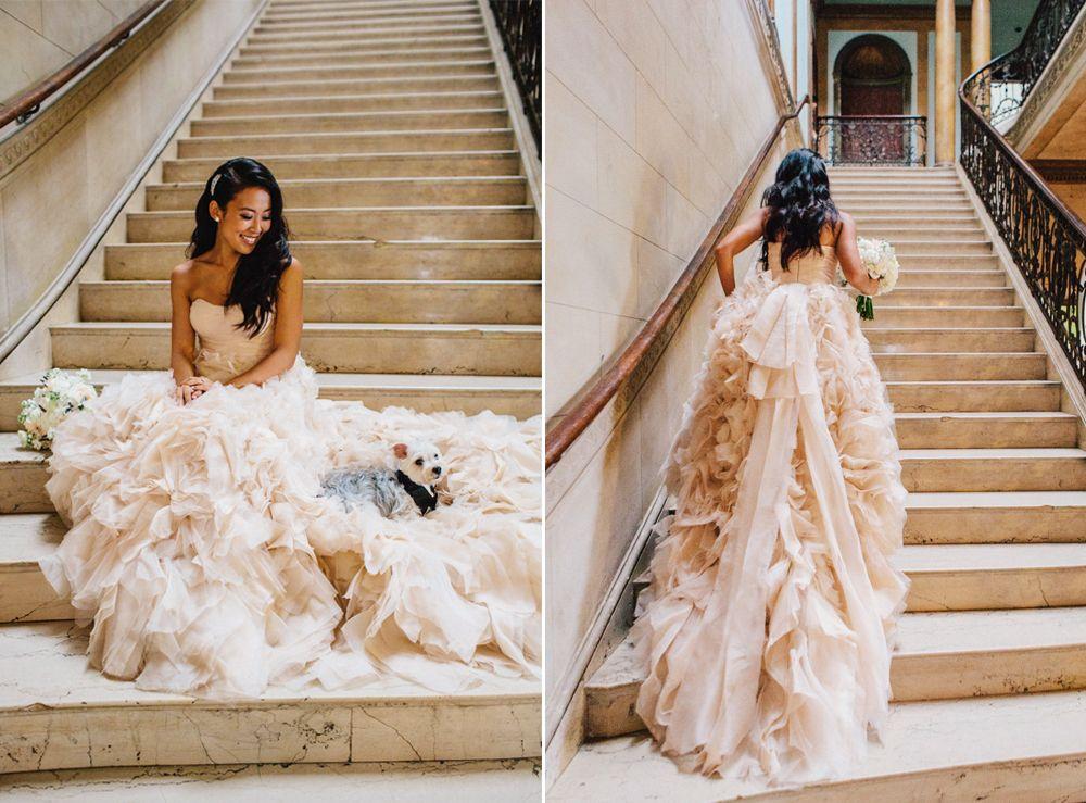 Monique Lhuillier blush bridal gown | Wedding Dress | Pinterest ...