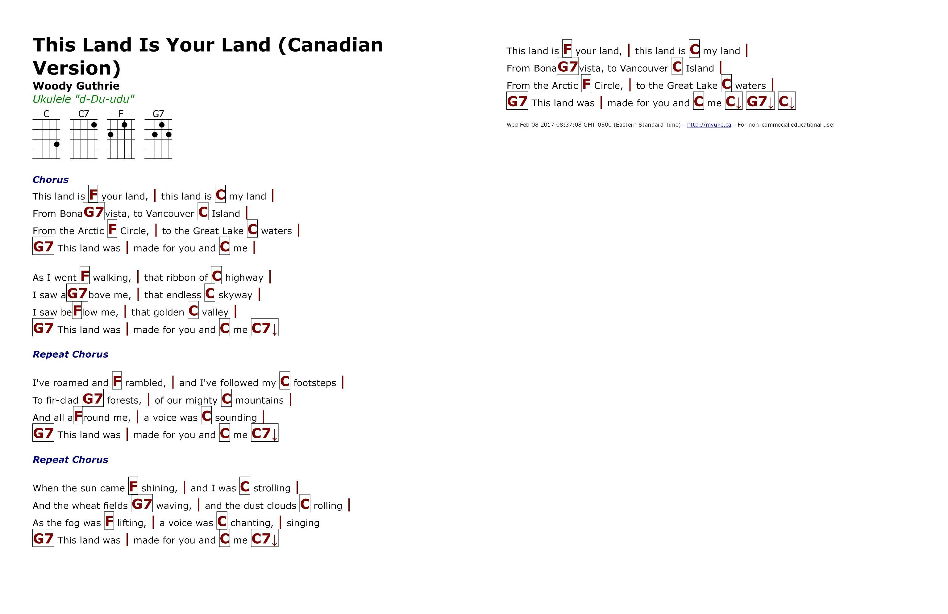 This Land Is Your Land Canadian Version Woodie Guthrie Http