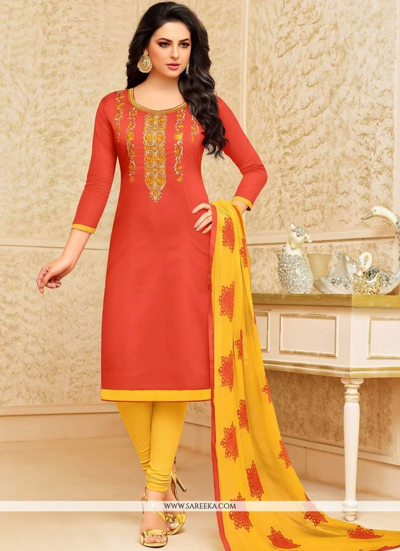 Yellow dress suit  Orange Embroidered Work Cotton Churidar Suit  Salwar Kameez