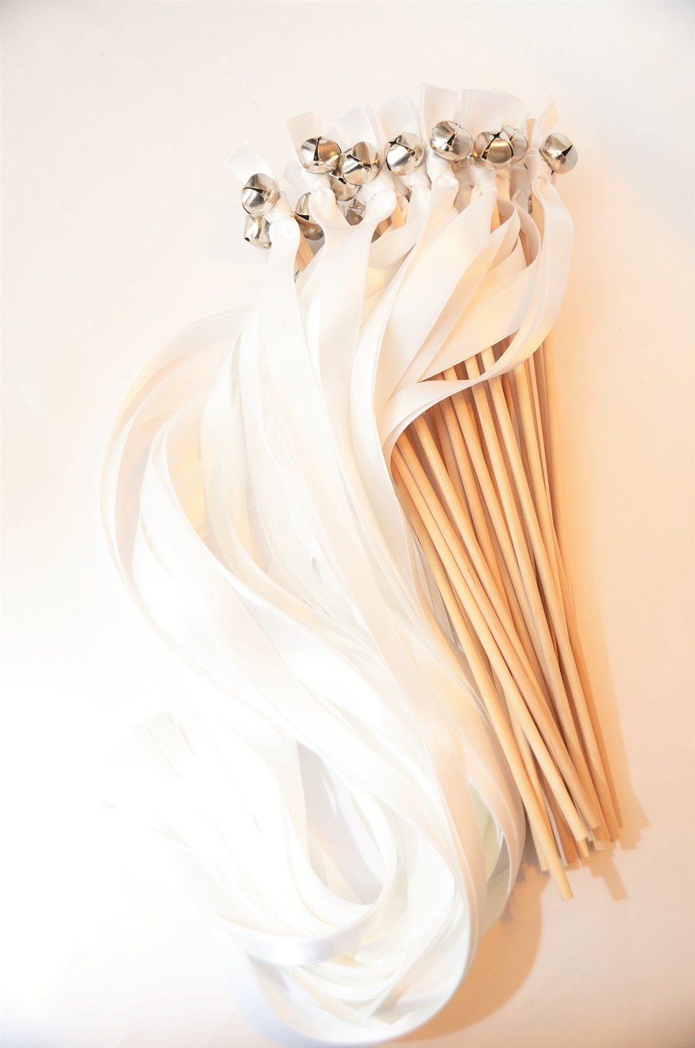 Amazon.com: 50 Ribbon Bell Wands ~ Solid White ~ Send Off Bells ~ Kissing Bells ~ Favors ~ Ribbon Wavers ~ Wedding Ribbon Bell Wands ~ Divinity Braid ~ Send Off Bells: Kitchen & Dining
