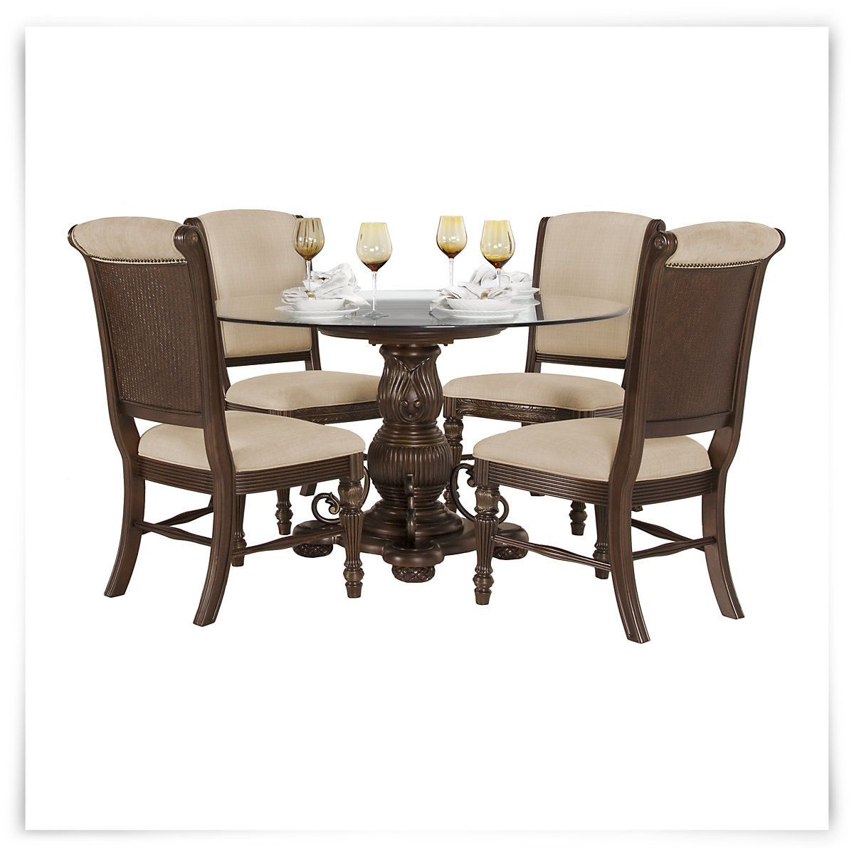 tradewinds dark tone glass table 4 upholstered chairs house rh pinterest com