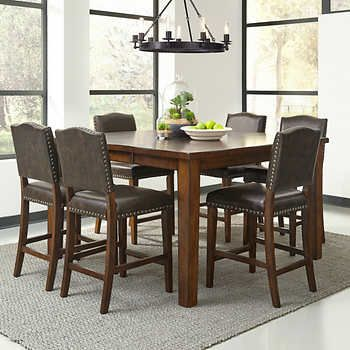 Rochester 7 Piece Counter Height Dining Set Counter Height Dining Sets Counter Height Dining Room Tables Brown Dining Room Set