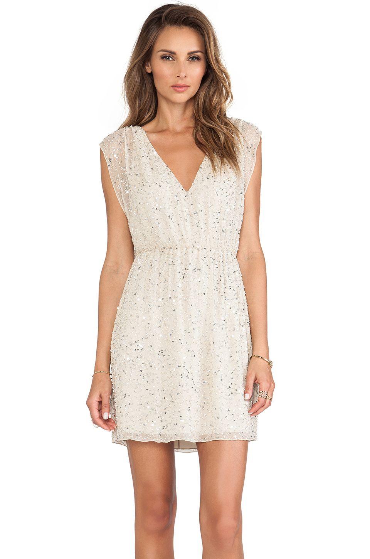 10686c3e10 Alice + Olivia Nelson Embellished V Neck Dress in Natural + Silver ...