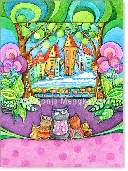 Serie: Aquarell Zeichnungen Motiv:  #Eulen Stadt - Eulen Familie - Mama Eule mit Kindern - Serie: Bilder für's Kinderzimmer.