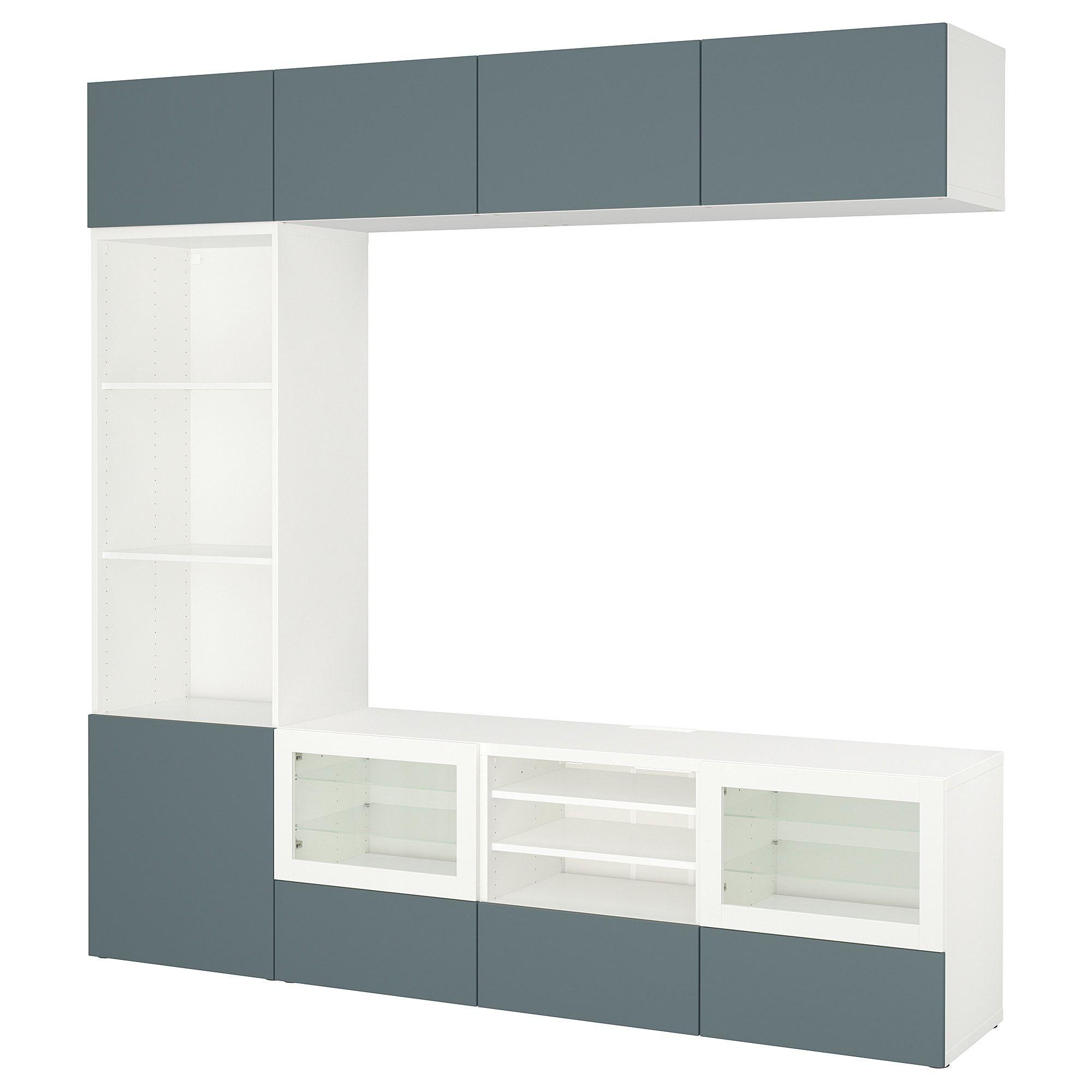 best tv storage combination glass doors white valviken gray rh pinterest com