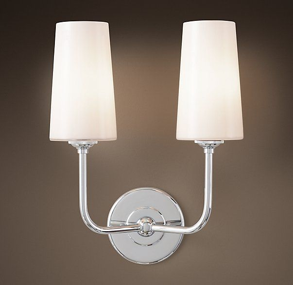 rhs modern taper double sconce with glass shadeour contemporary interpretation of a classic double sconce elevates light and shelters it behind - Double Sconce Bathroom Lighting
