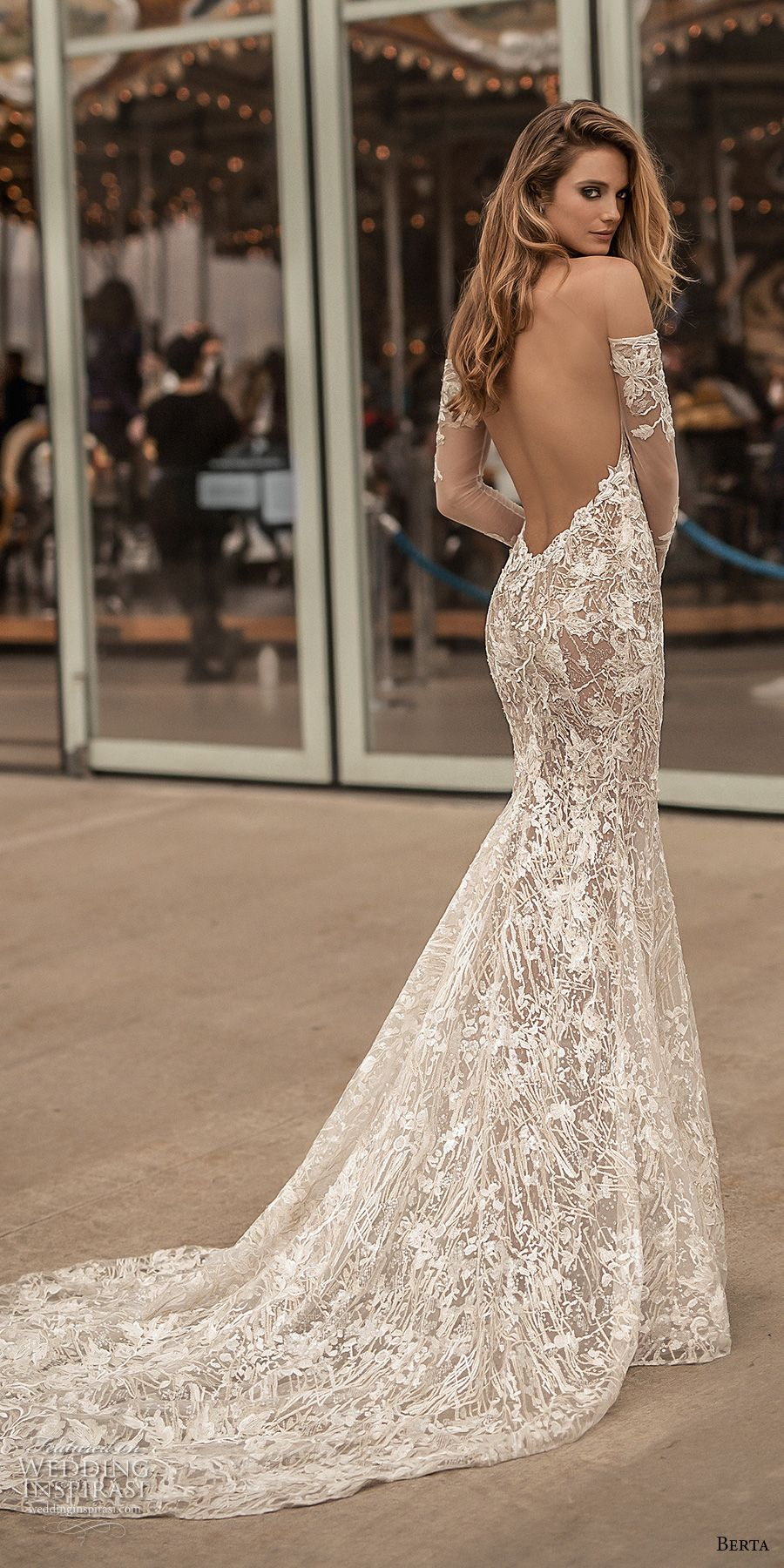berta spring 2018 bridal long sleeves off the shoulder sweetheart neckline  full embellishment sexy elegant fit and flare wedding dress open low back  medium ... ca88a0d04