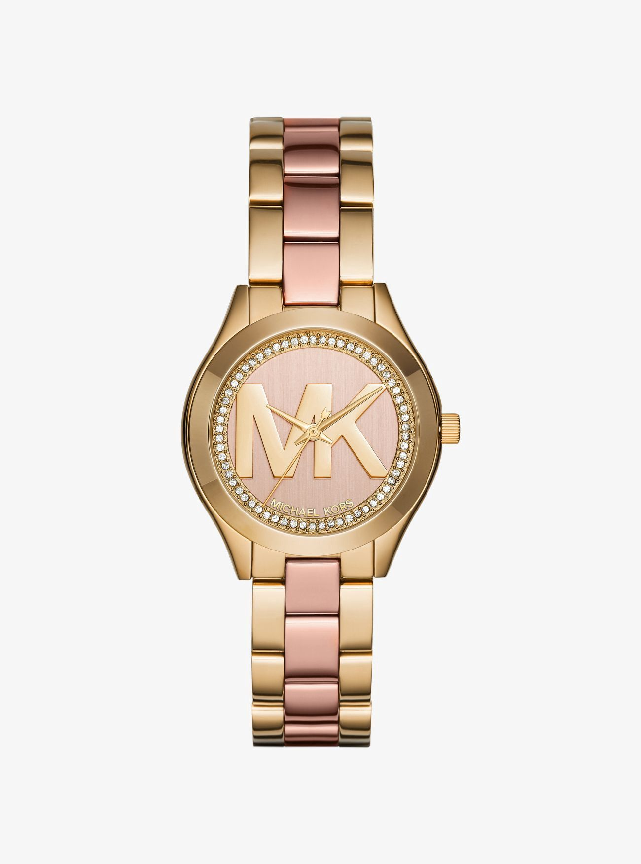 c04d332201ad MICHAEL KORS Mini Slim Runway Pavé Two-Tone Watch.  michaelkors ...