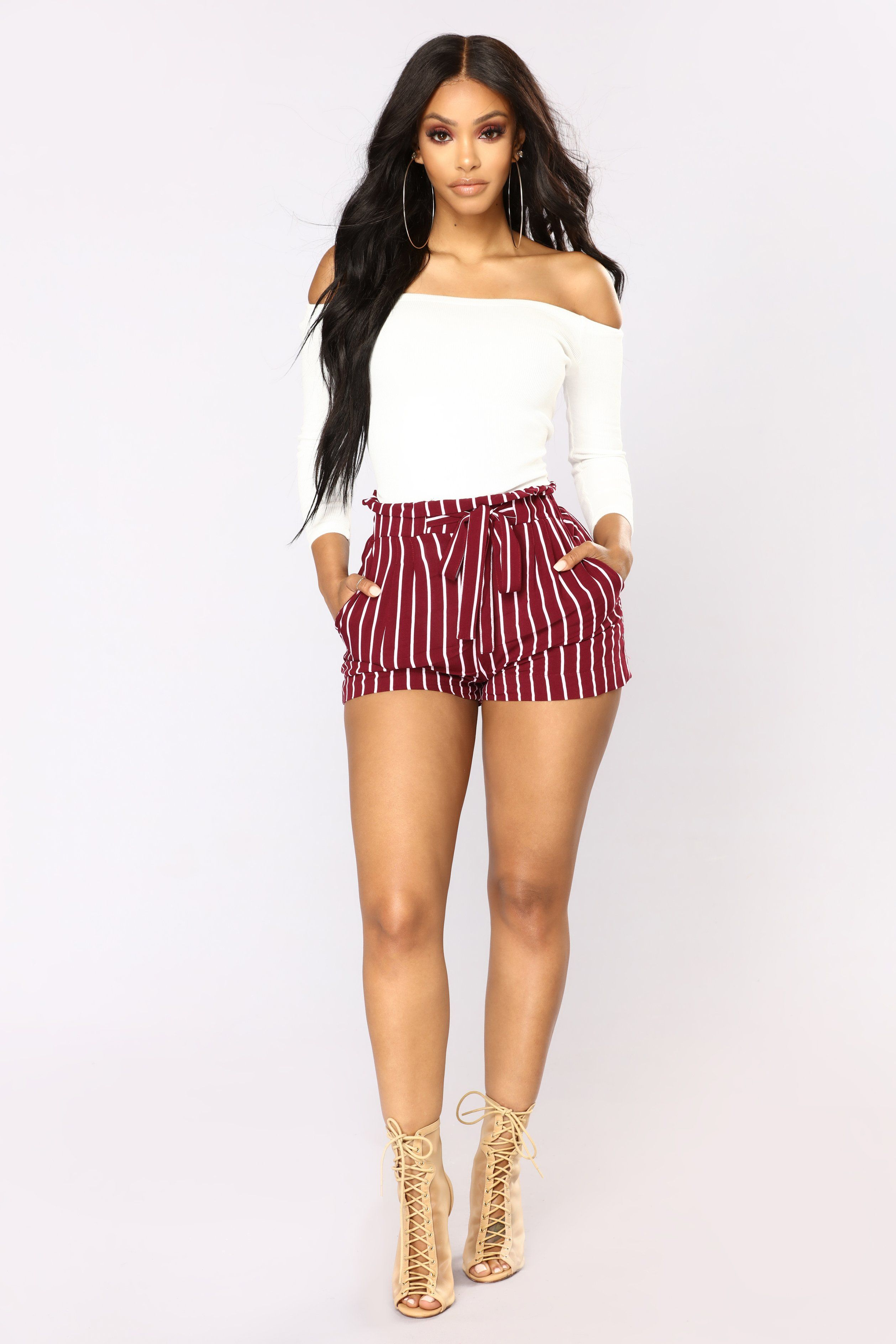 c27da7b85 Available In Black/White, Burgundy/ White And Navy/White Striped Paperbag Shorts  Tie Waist Detail High Rise 100% Rayon