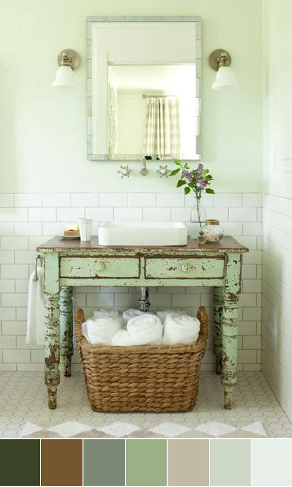 diy distressed bathroom vanity%0A Old furniture piece turned bathroom vanity  Farmhouse Style  Chippy Paint   White Subway Tile on Walls  Hexagon Patterned Floor  Character