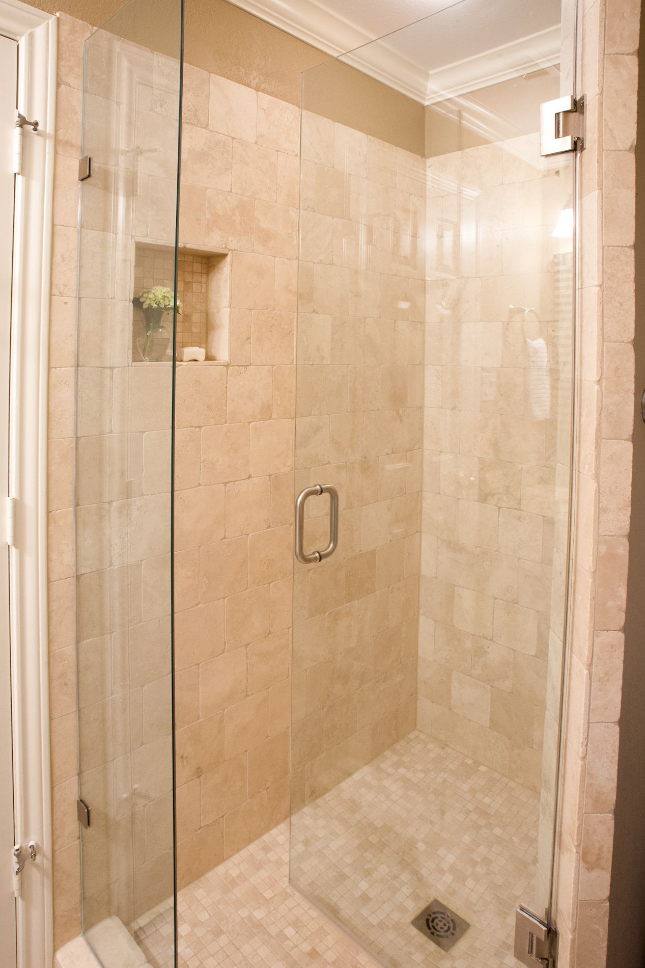 Frameless Clear Glass Shower Door Tumbled Travertine Tile In