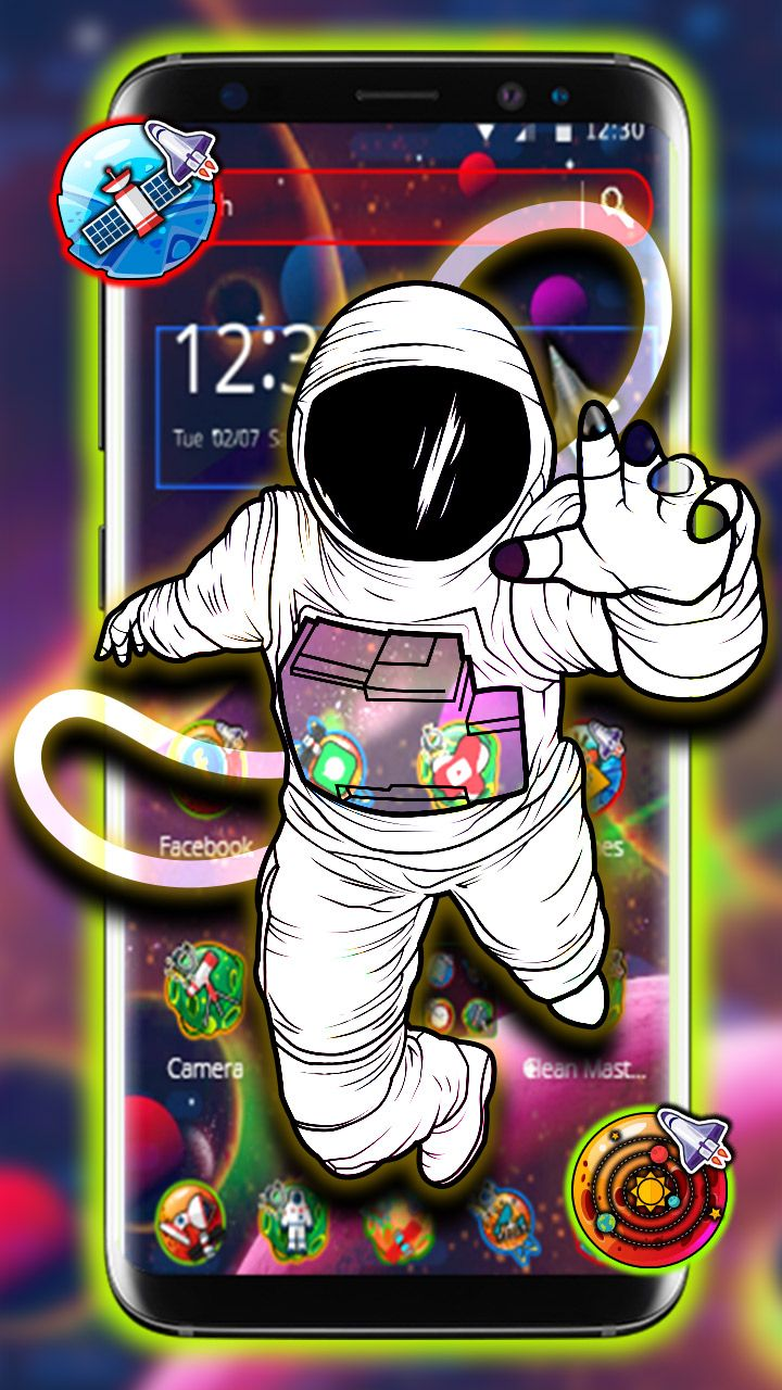 Astronaut Theme. Spaceman 3D floating parallax theme and