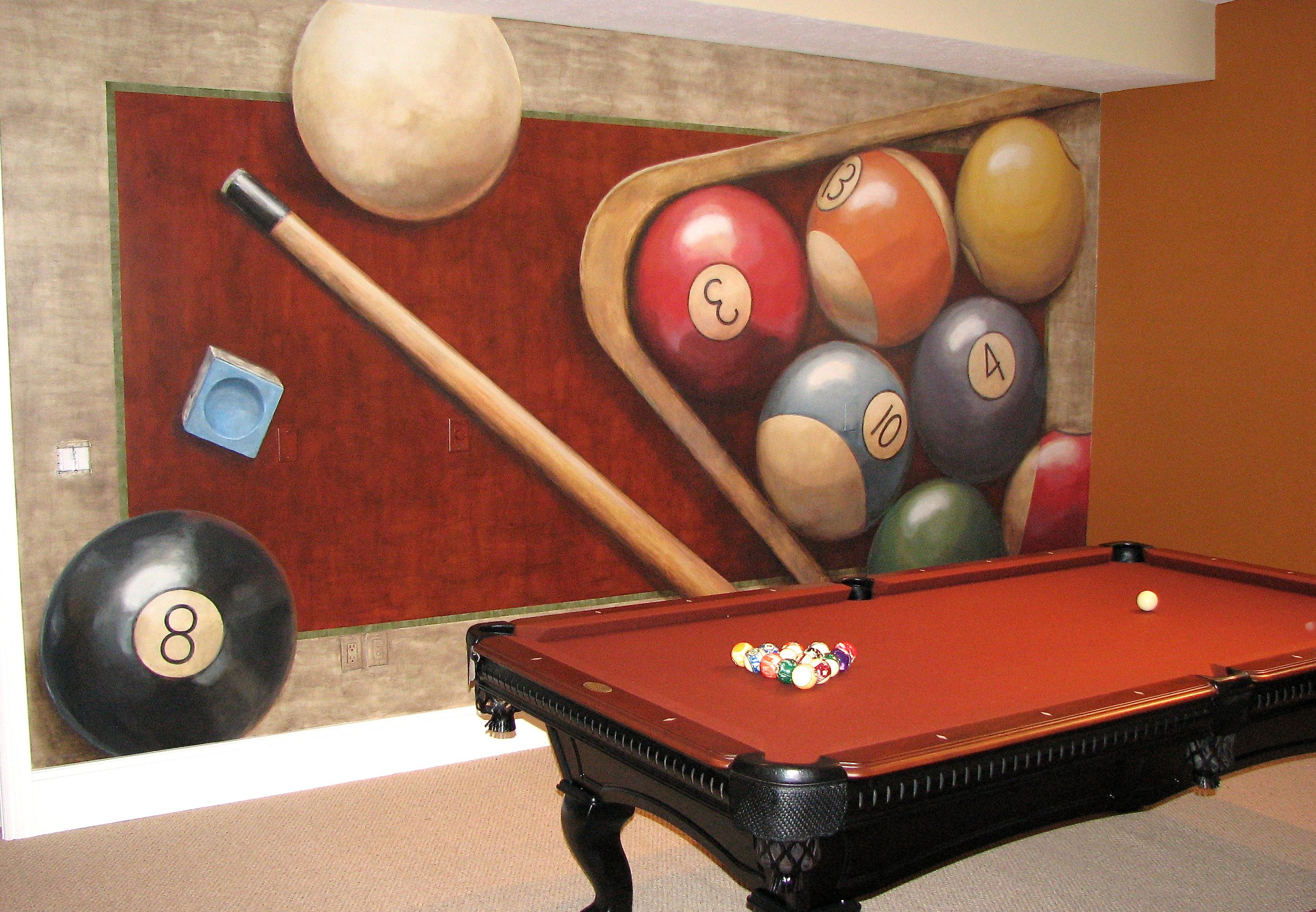 Billiards Game Room Custom Hand Painted Mural Billiards Billiards Room Decor Game Room