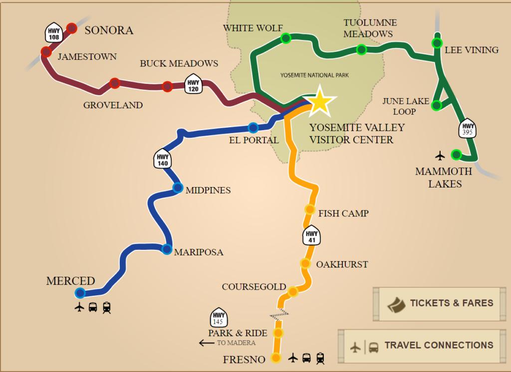 Yosemite Transportation- Directions to Yosemite National Park- Yarts on yellowstone tourist map, grand canyon tourist map, redwoods tourist map, venice beach tourist map,