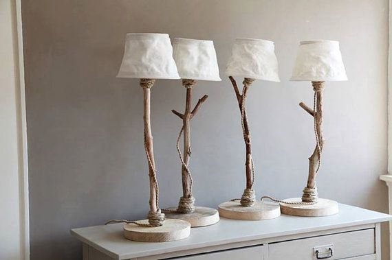 Table Lamp From Driftwood, Oak Wood, Rope, And Sailcloth Lampshade Also  Available In