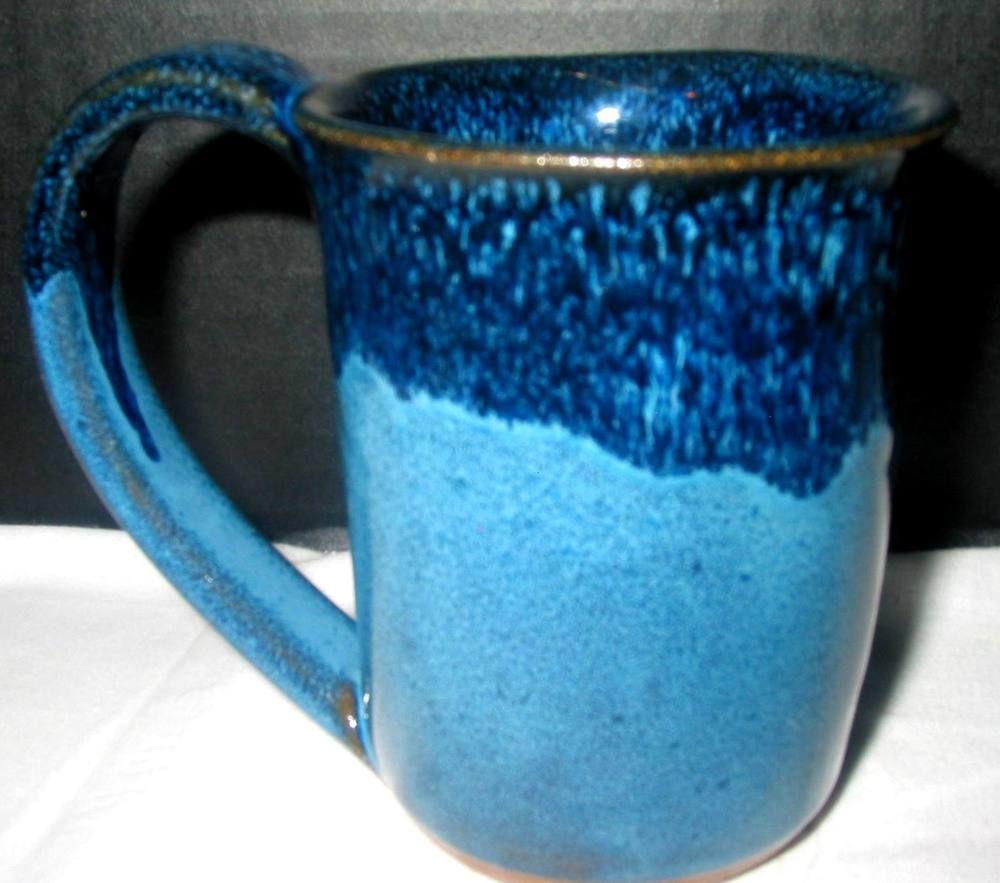Joan MALLICK Block Island Blue Studio Art Handcraft Pottery Coffee ...
