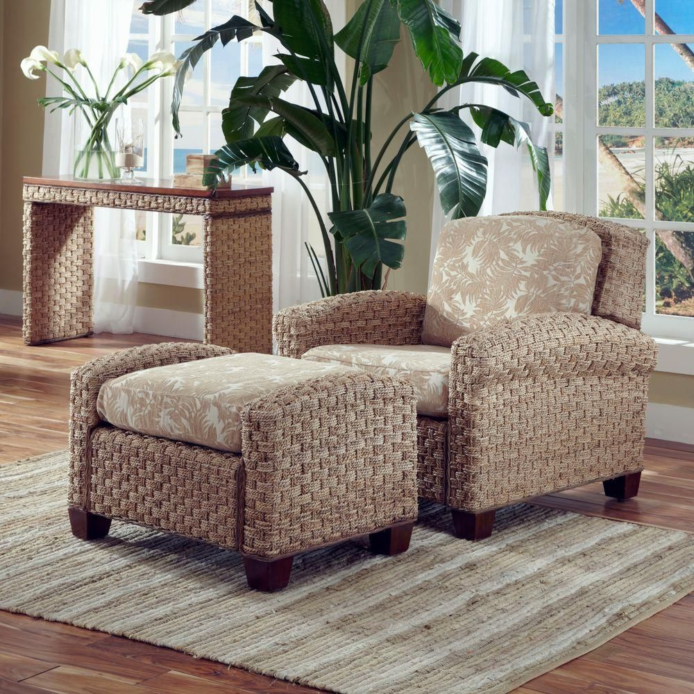 ottoman for living room%0A Cabana Banana II Beige  u     Brown Jacquard Cushioned Arm Chair with Ottoman   Honey