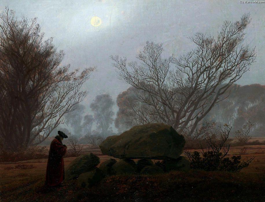 Landschaftsmalerei romantik friedrich  A Walk at Dusk, 1830 by Caspar David Friedrich | Twilight | Pinterest