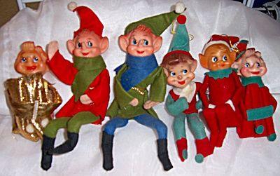 6 Vintage Elves Pixie Christmas Elf