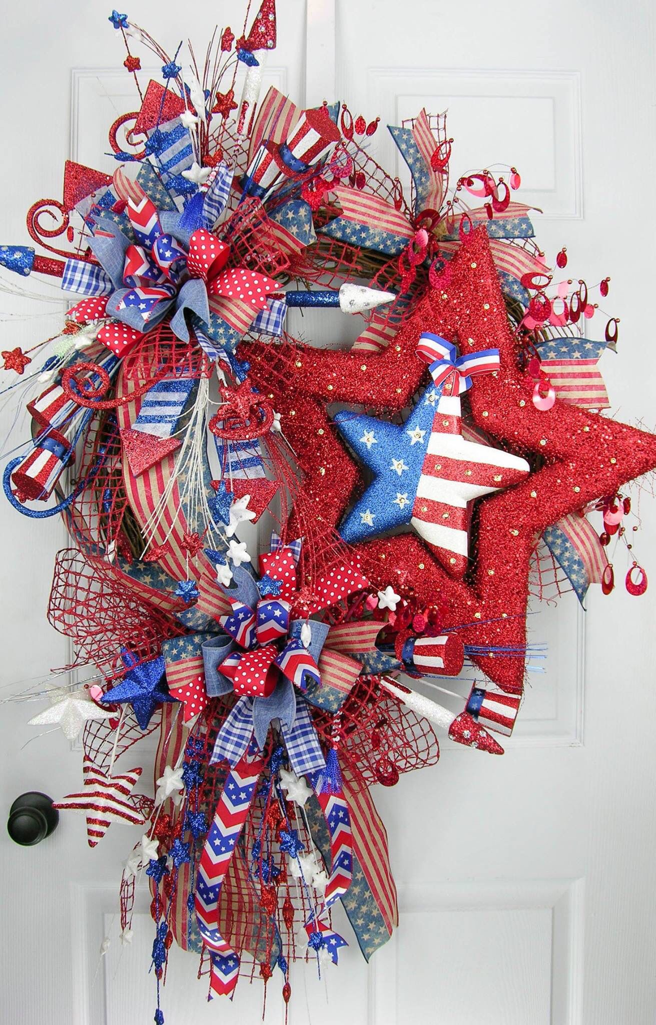 Patriotic Wreath Memorial Day 4th Of July With Lights And Terri Bows Terribow Www