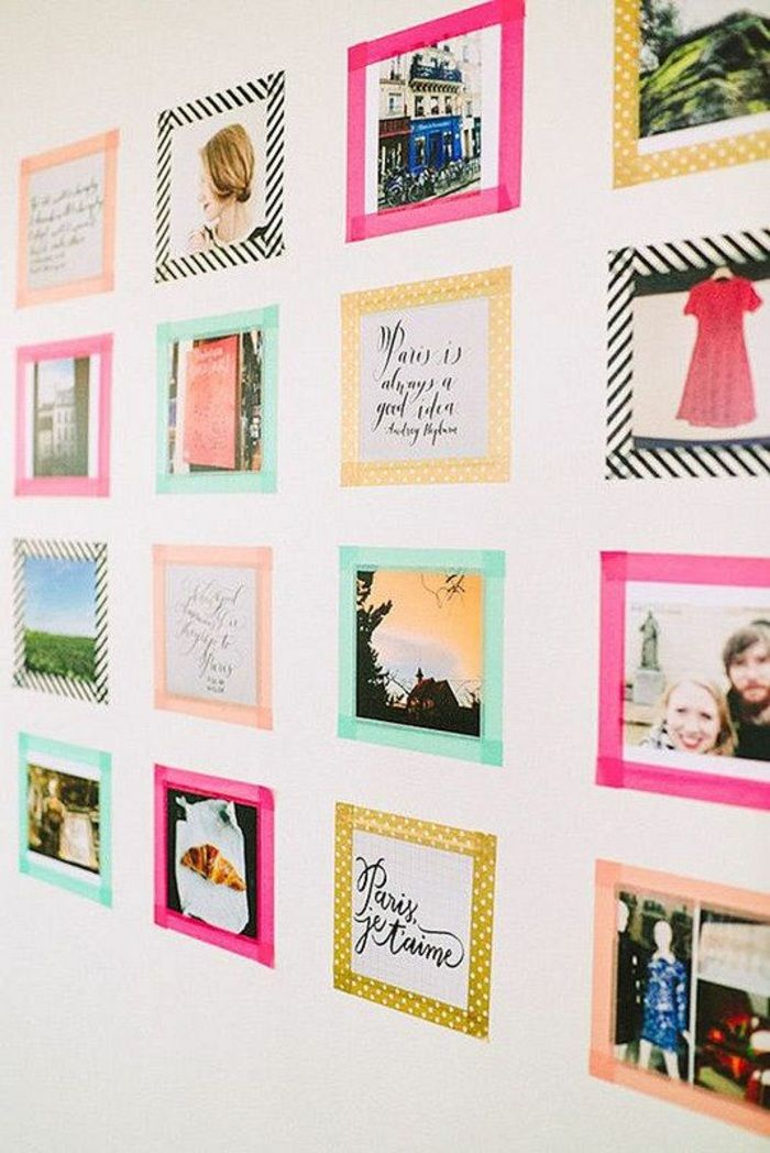 Winter Project: This DIY Masking Tape Photo Wall. Using Colorful, Printed  Masking Tape, Frame Your Photos In A Fun, Colorful Way.