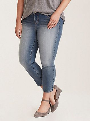 f15adf67bb Plus Size Torrid Ankle Skinny Jeans - Light Wash with Fading