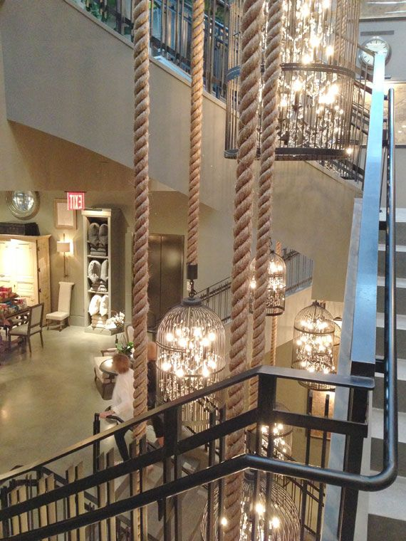 Vintage Birdcage Chandelier Hung By Rope Restoration Hardware