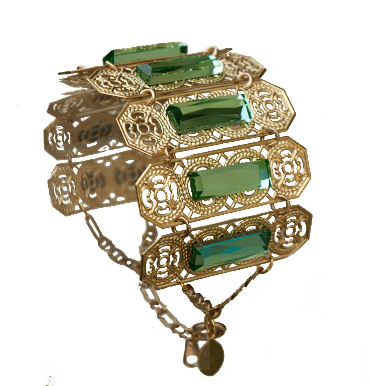Bracelet manchette éclatant cabochon en verre facetté : Bracelet par l-ecrin-de-loula