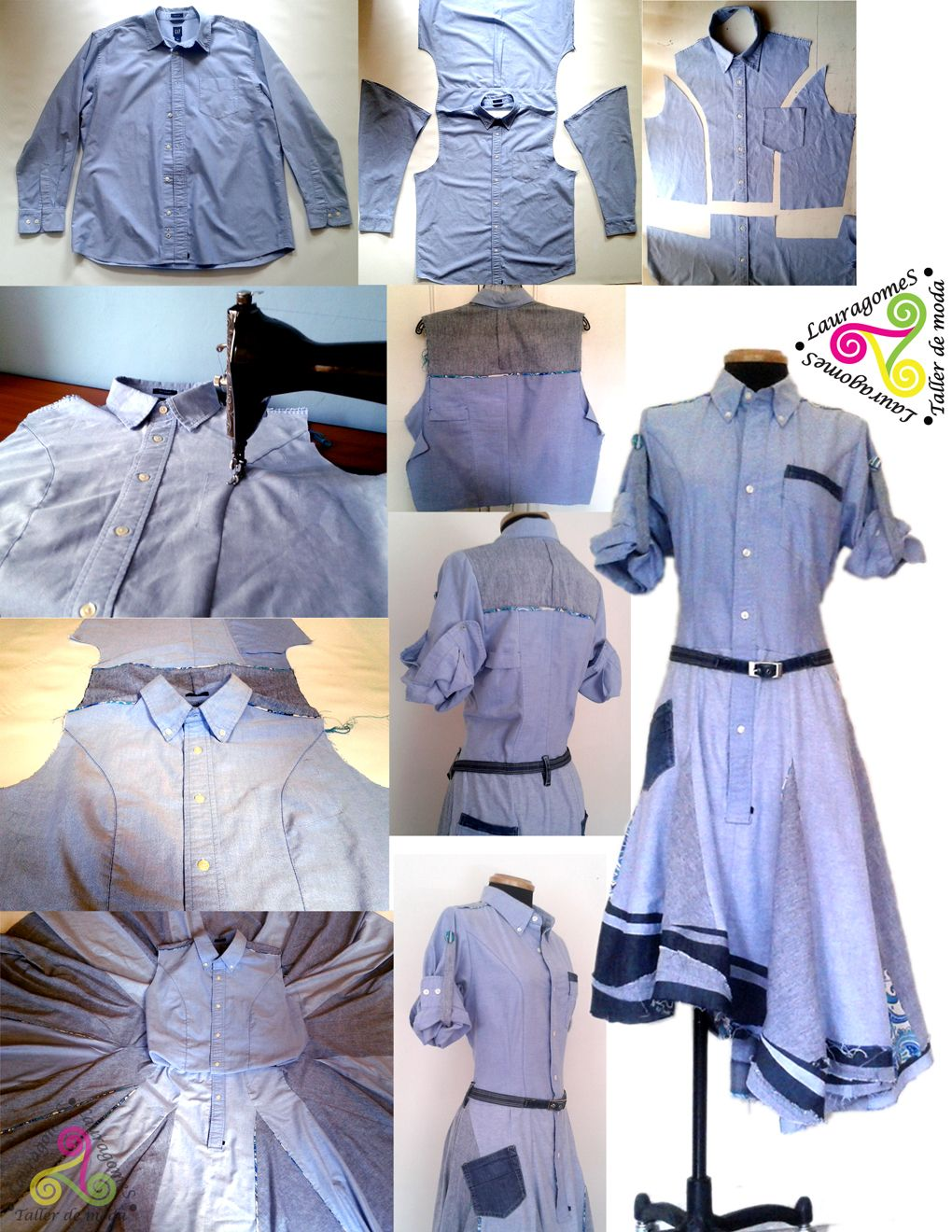 de camisa de hombre a vestido para Flort...  #customized #recicled #clothes