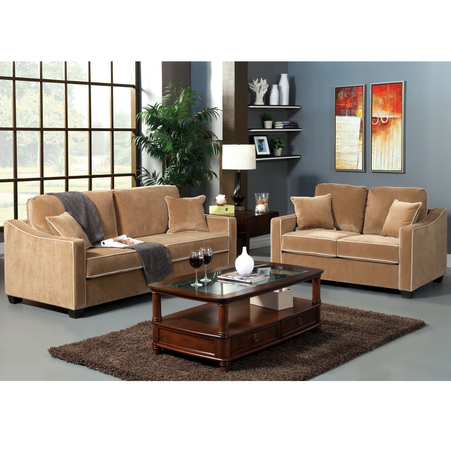 Florence Contemporary Style 2 PC Sofa and