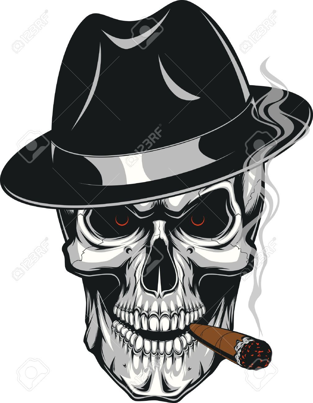 6bf35067a84e7 Vector - Vector illustration of an evil human skull in hat smoking a cigar  on a white background