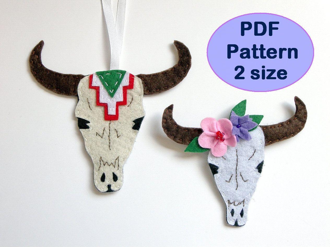 DIY Handmade Felt Bull Skull PDF sewing pattern instant