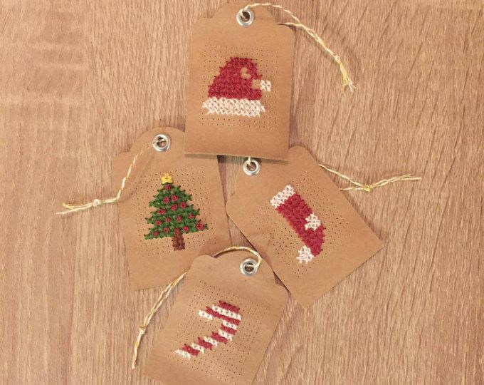 Set of 4 Christmas Cross Stitch Gift Tags 2x3 | Handmade Gift Tags | Holiday Gift Tags | Kraft Paper Gift Tags | Cross-Stitch Ornaments