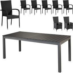 Gartenmöbel-Set Las Vegas Xxl/malaga/riogrande (90x200, ausziehbar, 8 Stühle, schwarz) Dänisches Bet