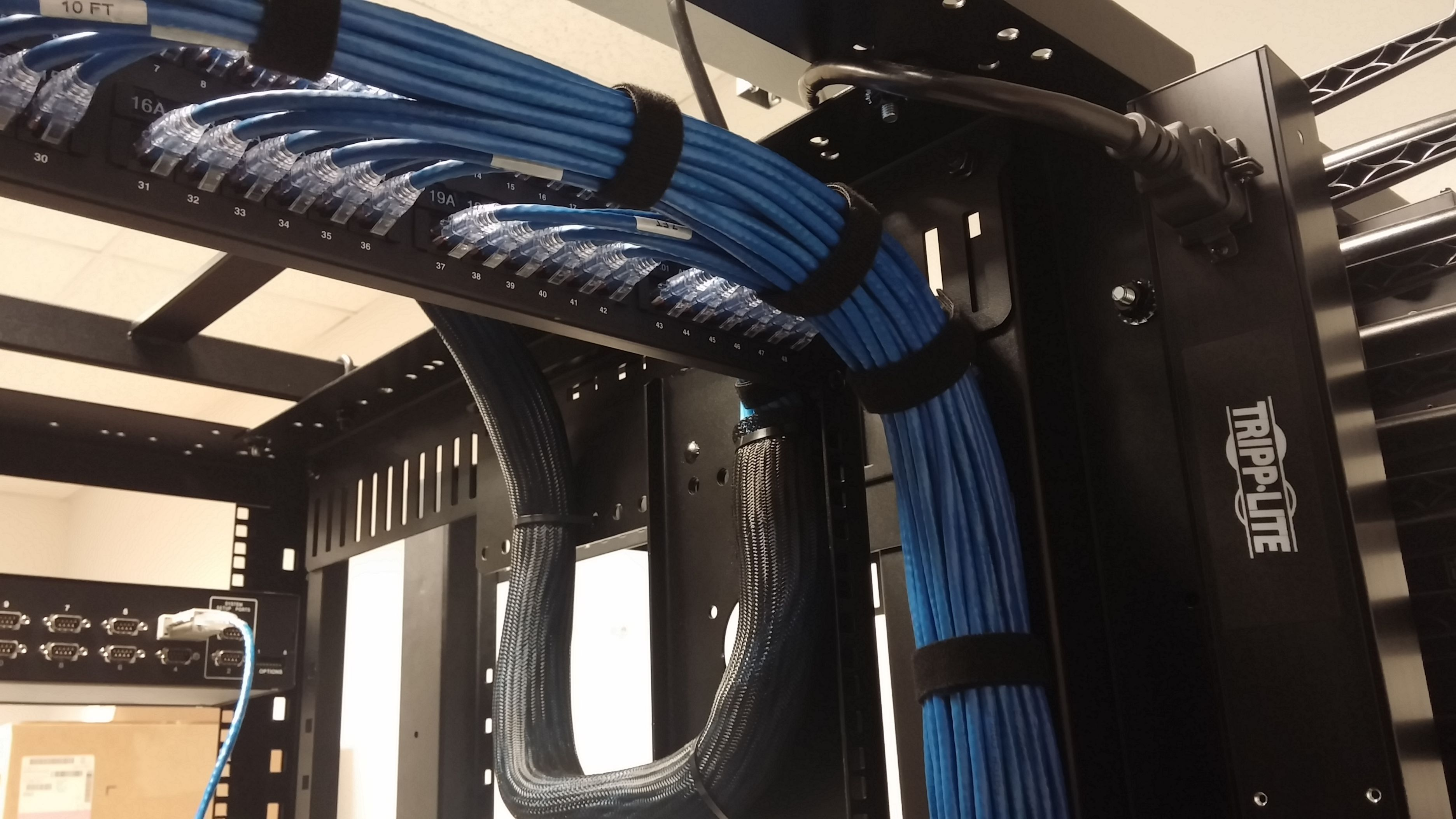 wiring management into patch panels nice use of velcro instead of rh pinterest com