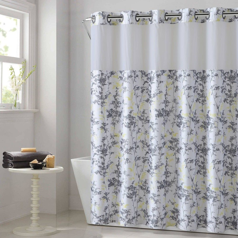 Field Leaves Shower Curtain With Fabric Liner Hookless Adult