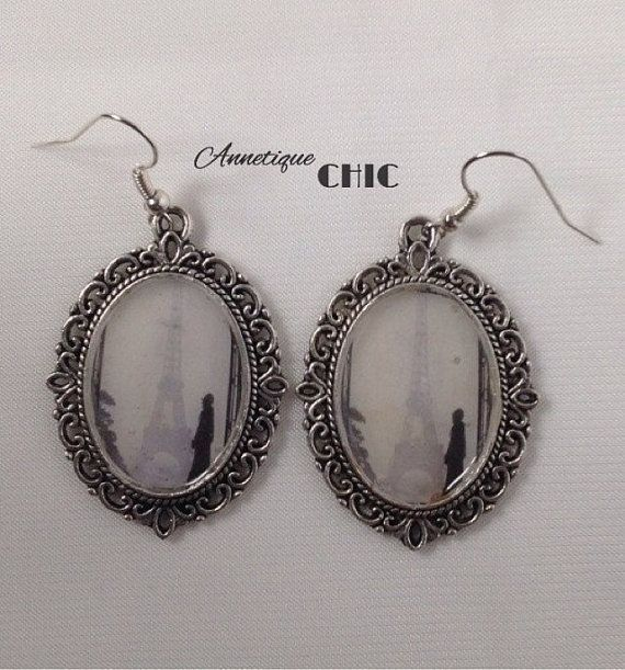 Silver Paris Cameo Earrings