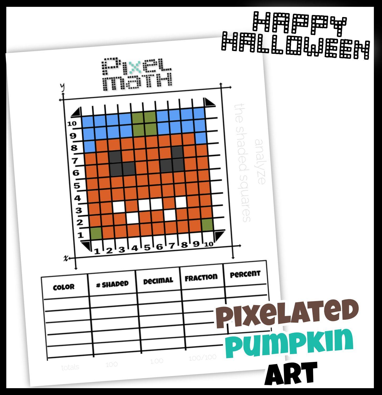 Pumpkin Pixel Math Worksheet To Practice Fractions