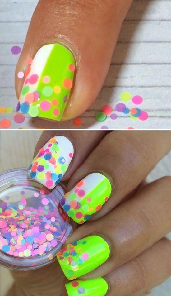 Neon Confetti   22 Easy Nail Art Designs for Short Nails   DIY Nail ...