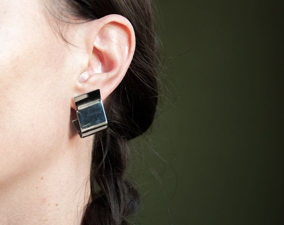 folded minimalist sculptural earrings / by persephonevintage