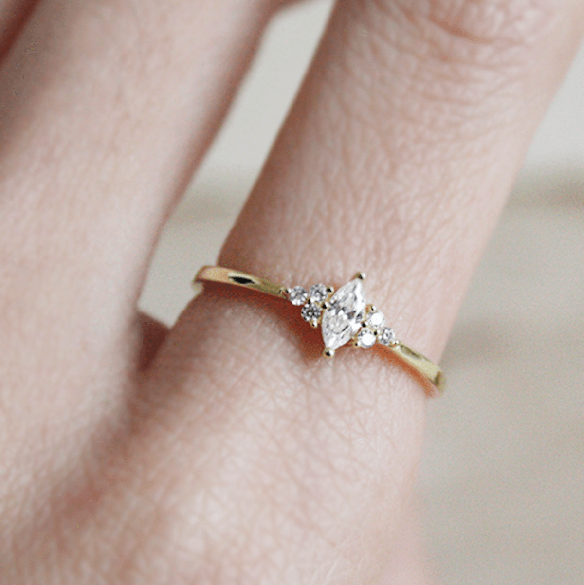 Thin Gold Ring Band Ring Stacking Rings Gold Faceted Ring Diamond Ring Marquise Ring Pattern Ring 14K Gold Filled Ring