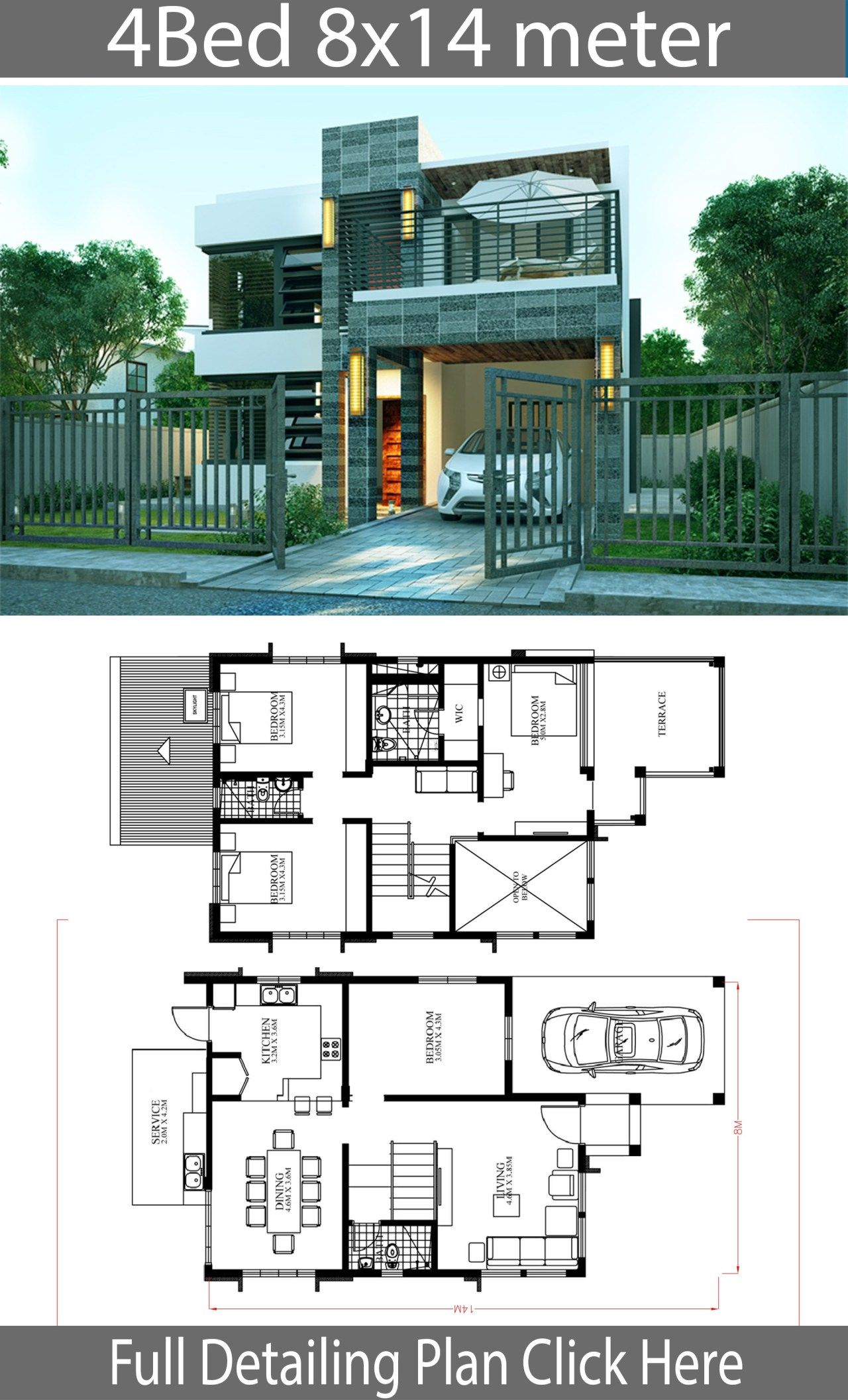 Home Design Plan 8x14m With 4 Bedrooms Home Ideas Home Design Plan House Layout Plans Modern House Plans
