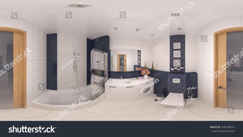 360 panorama of bathroom design Seamless 3d