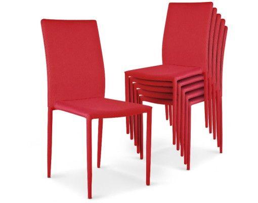 Lot de 6 chaises Modan empilables rouges | Chaise cuisine