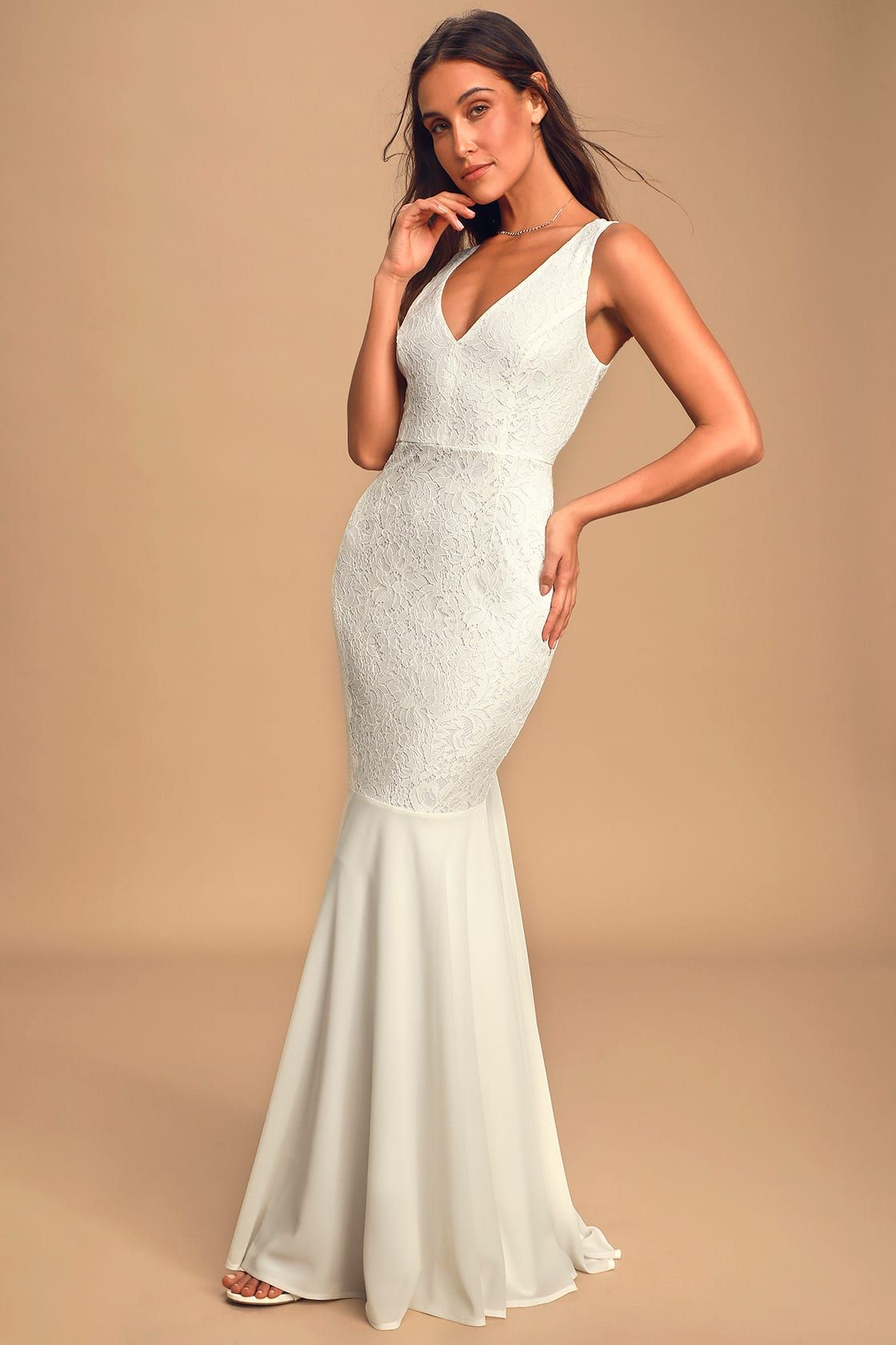 Take My Breath Away White Lace Backless Mermaid Maxi Dress In 2020 Lace Maxi Dress Backless Lace Dress Long Sleeve Lace Maxi Dress