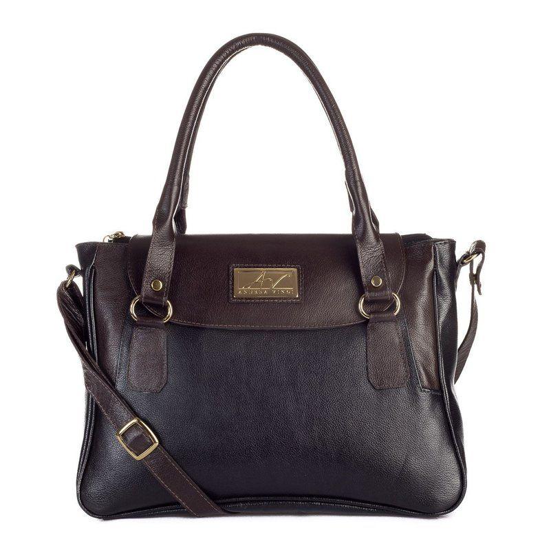 e7a06c842 Bolsa Danna em couro legítimo preta/café - Enluaze Loja Virtual   Bolsas…