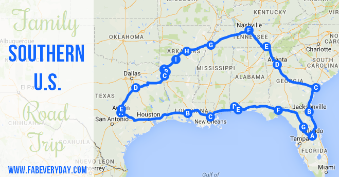 Driving Map Southeast Us Travel Tuesday: Southern U.S. Family Road Trip Route and